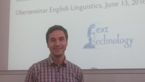 Andy Lücking speaking in the Oberseminar English Linguistics, June 2016.